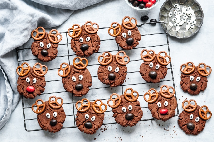 reindeer cookies on wire rack