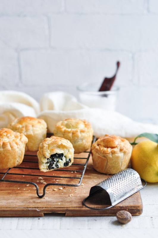 mini spinach and feta pies with fresh lemon