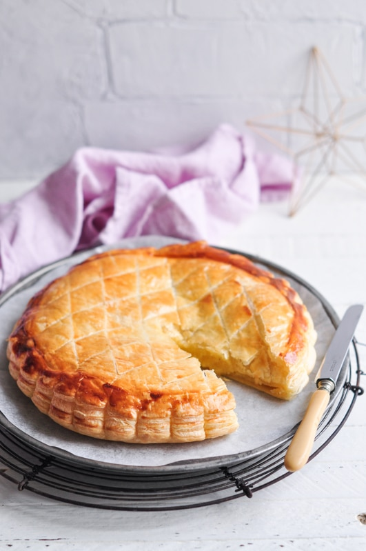 galette des rois with frangipane sliced