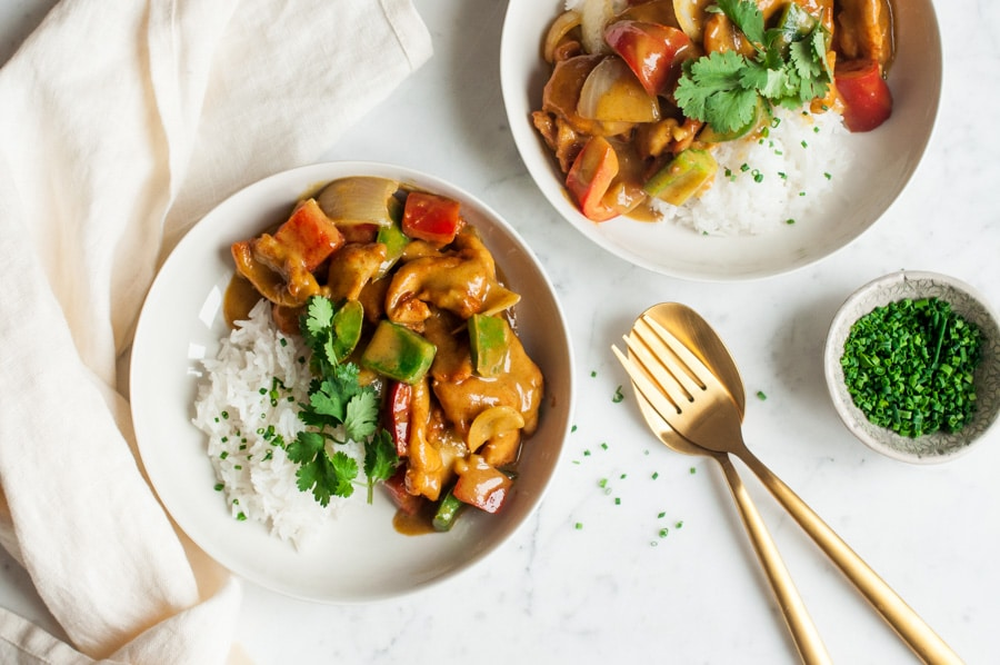 satay chicken stir fry with rice