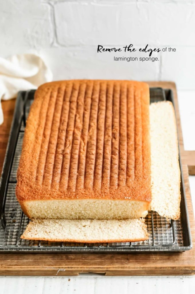 how to make lamingtons, remove the edges from the lamington sponge