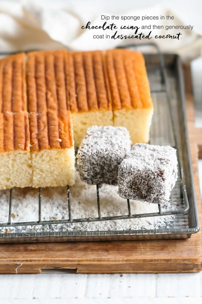 how to make lamingtons, dip the sponges in chocolate icing and coat in dessicated coconut