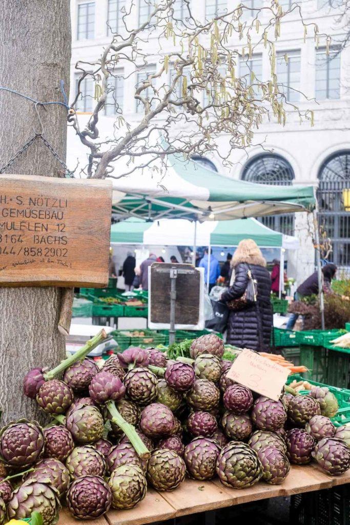 artichokes at the zurich farmer's markets