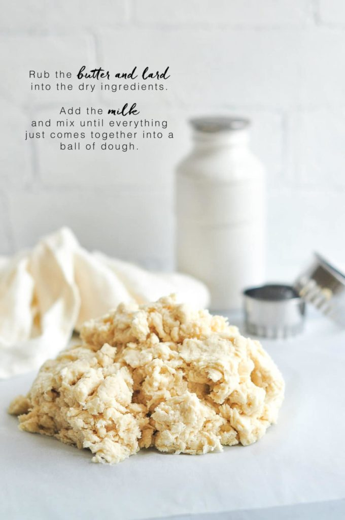 how to make scones, rub the butter and lard into the dry ingredients, and then add the milk.