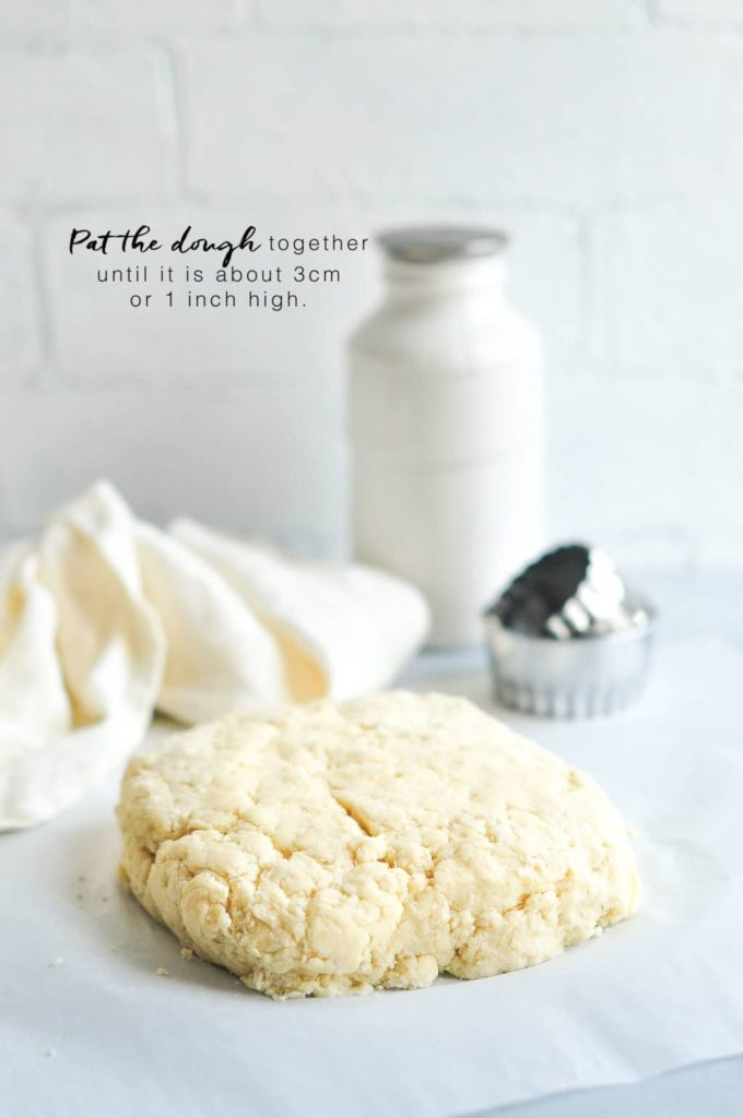 how to make scones, pat the dough together.
