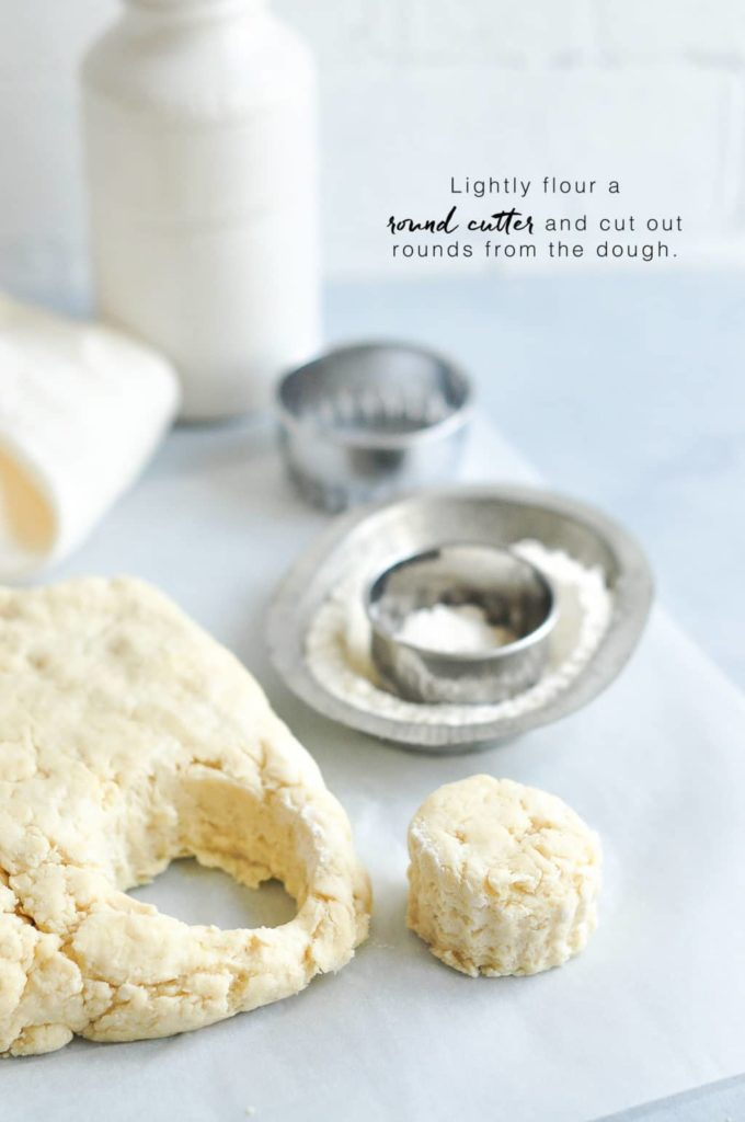 how to make scones, cut out shapes from the dough using a cookie cutter