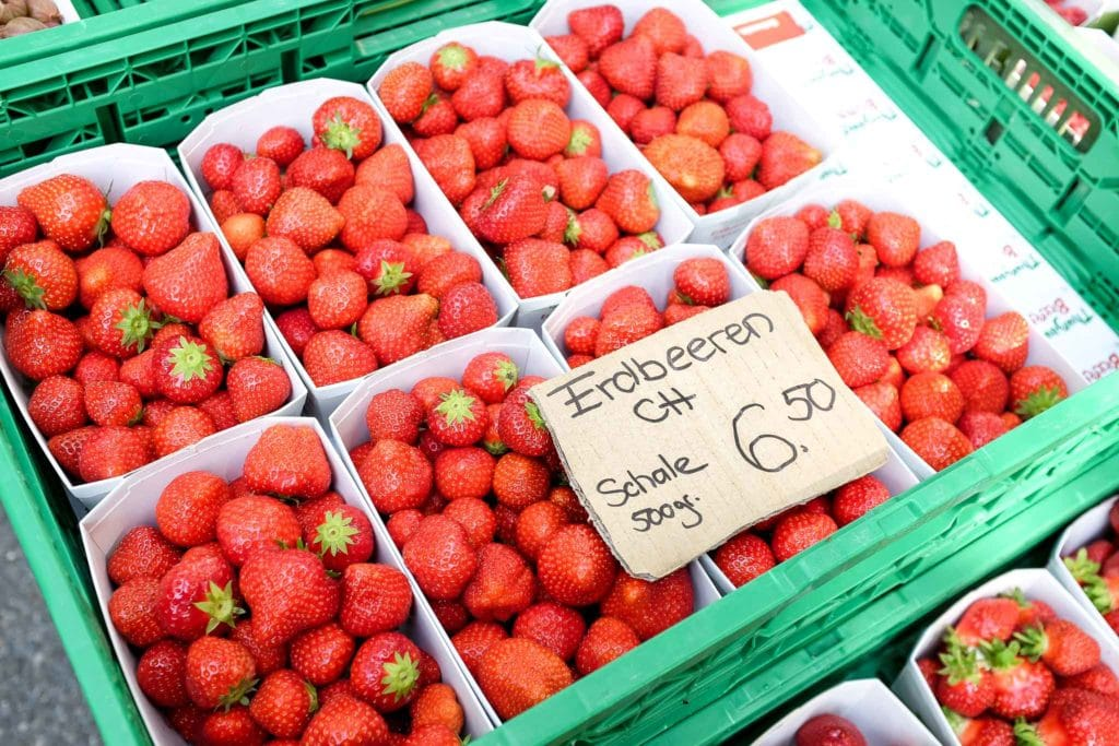 fresh strawberries at the farmers markets