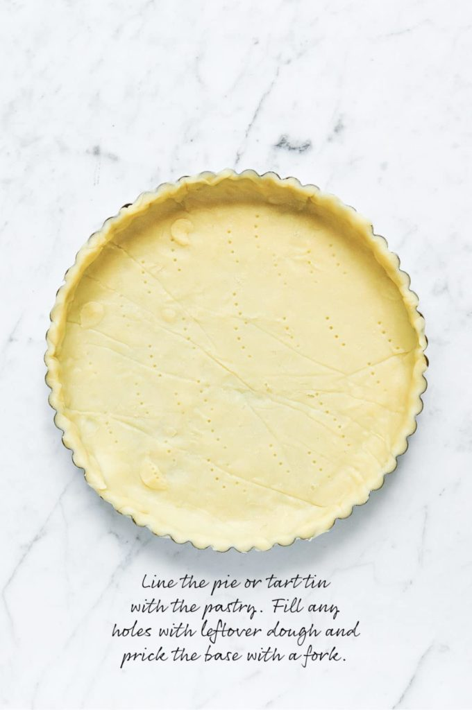 how to make lattice pie crust, line the pie dish with the pastry