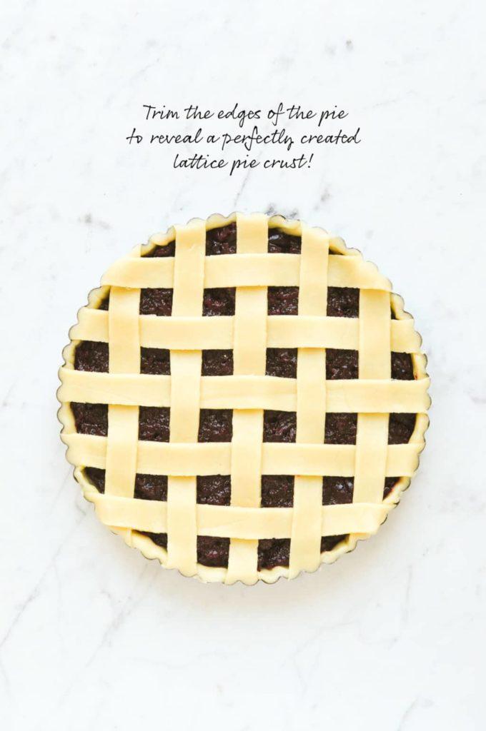 how to make lattice pie crust, trim the edges of the pie