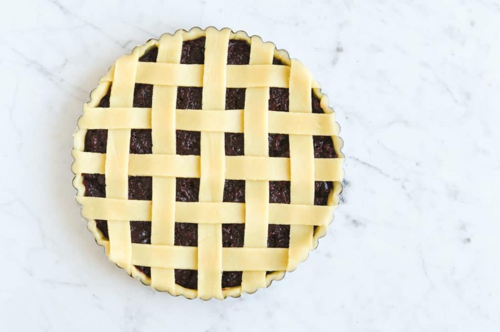 lattice pie crust on marble table