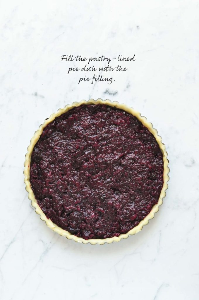 how to make lattice pie crust, fill the pie dish with the pie filling