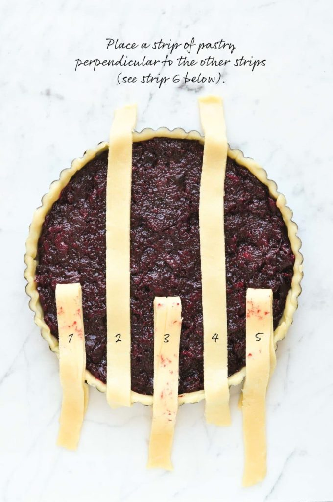 how to make lattice pie crust, fold back the strips of pastry