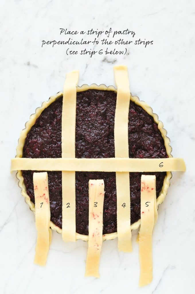 how to make lattice pie crust, place a strip of pastry perpendicular to the remaining strips