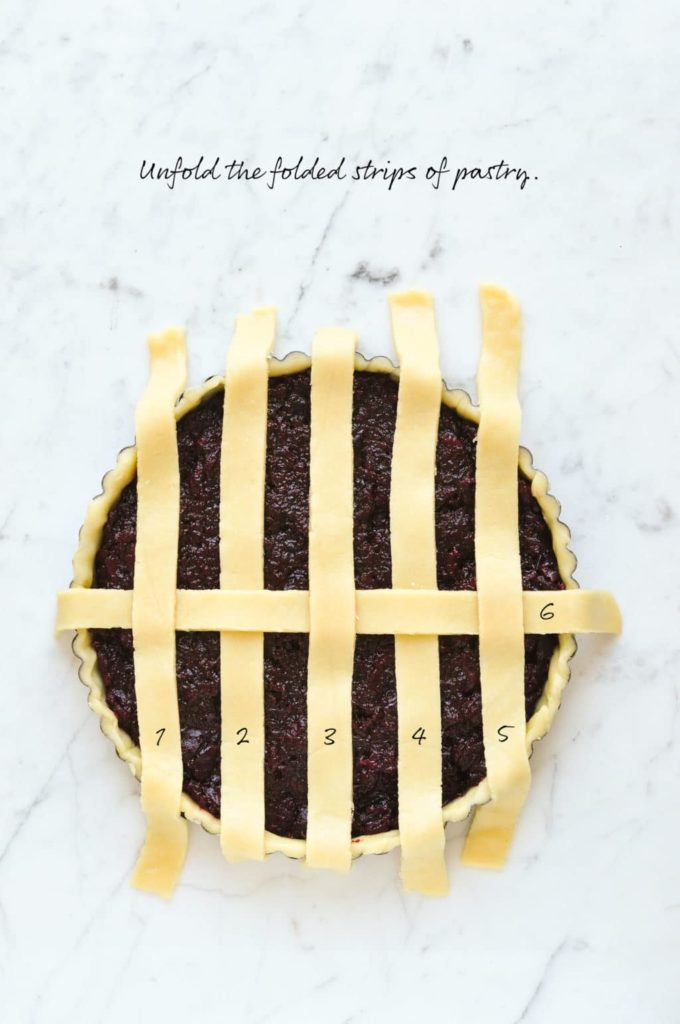 how to make lattice pie crust, unfold the folded strips of pastry