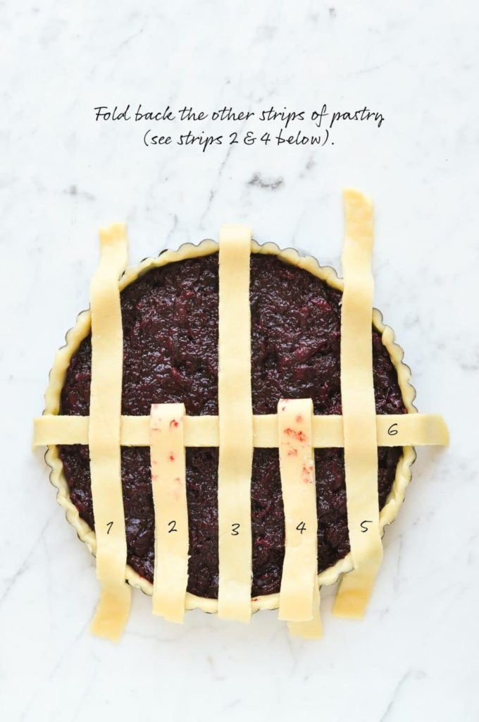 how to make lattice pie crust, fold back the other strips of pastry
