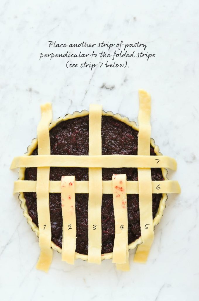 how to make lattice pie crust, place another strip of pastry perpendicular