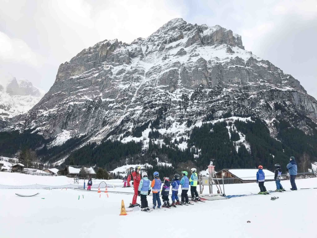 Skiing classes for children at Bodmi, Grindelwald