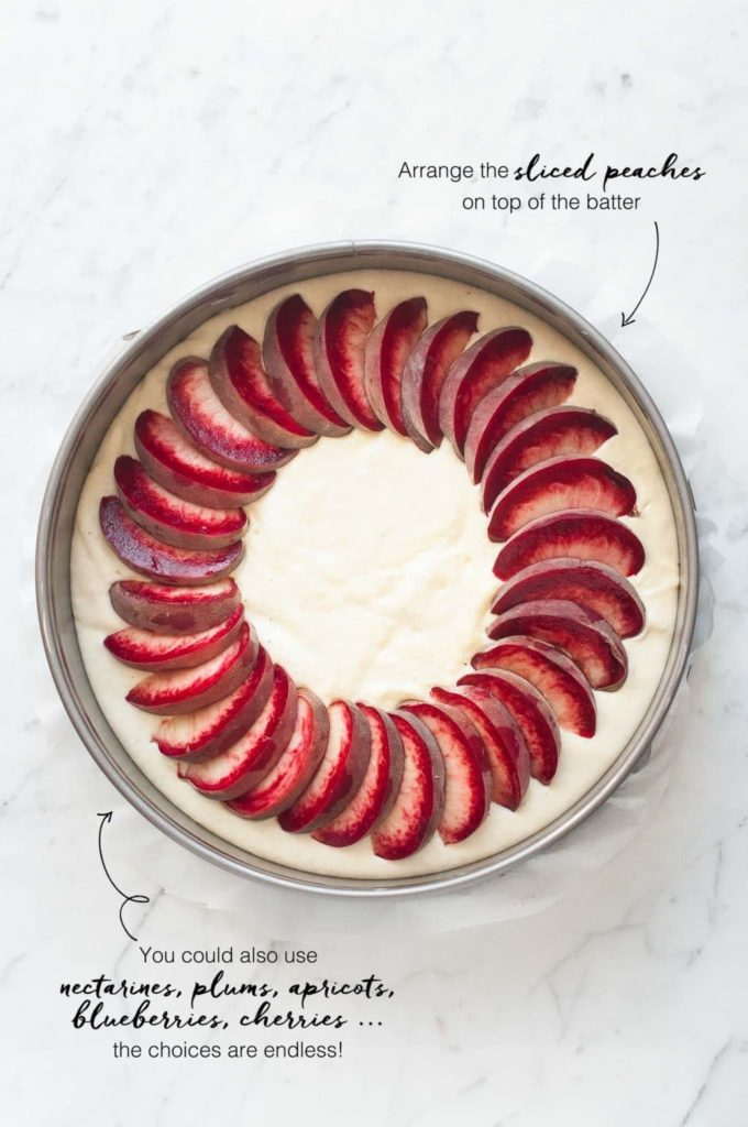 how to make butter cake, arrange the sliced peaches on top of the batter