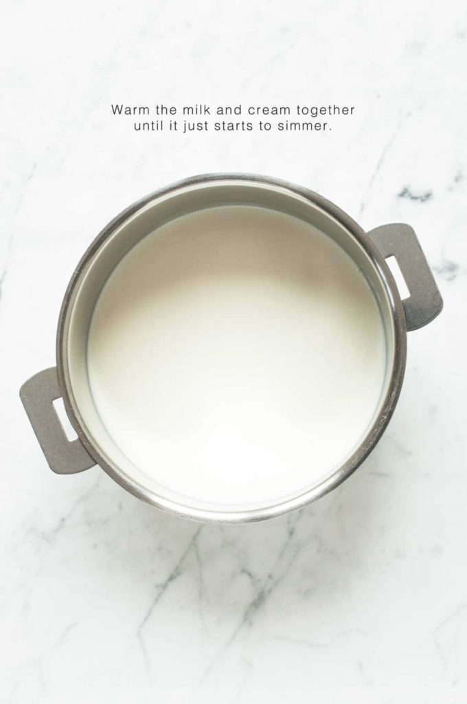 how to make creme patissiere, warm the milk and cream in a saucepan