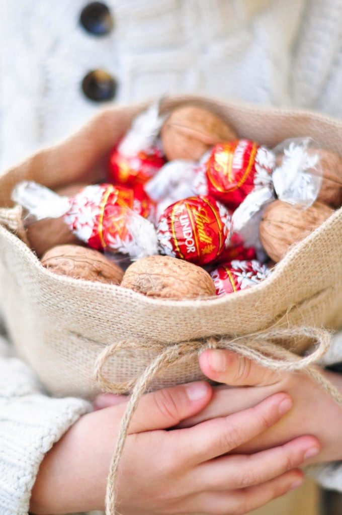 bag of walnuts and lindt lindor truffles
