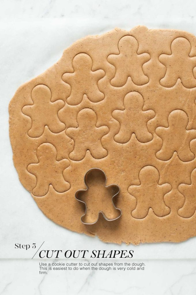 how to make gingerbread man cookies | gingerbread man cookie cutter on rolled out dough