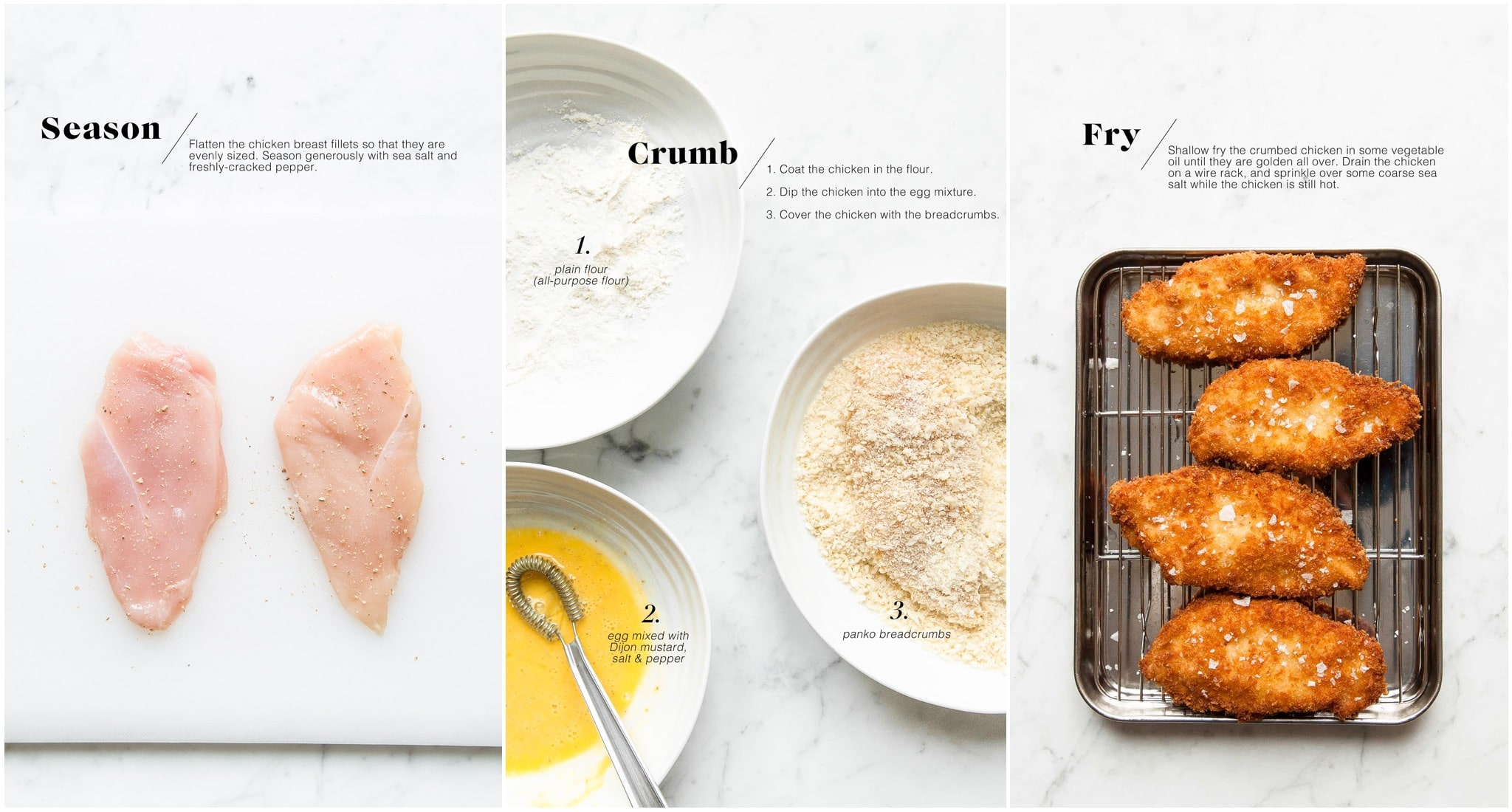 step by step photos for making chicken schnitzel