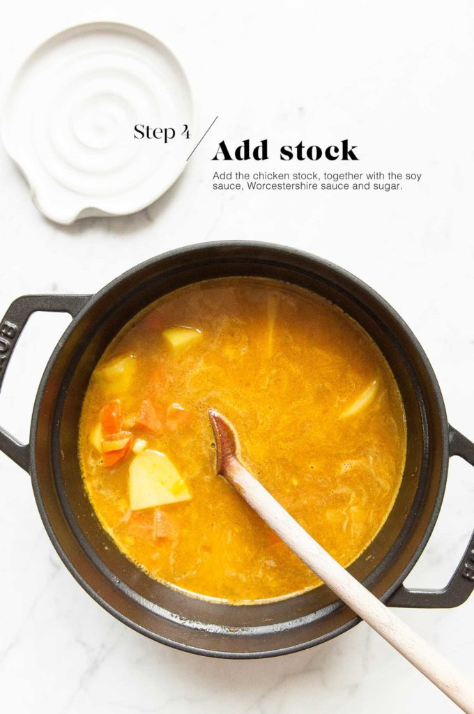 katsu curry in cast iron pot