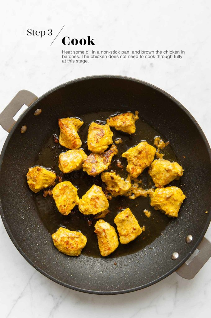 cooking the chicken in non-stick pan for butter chicken