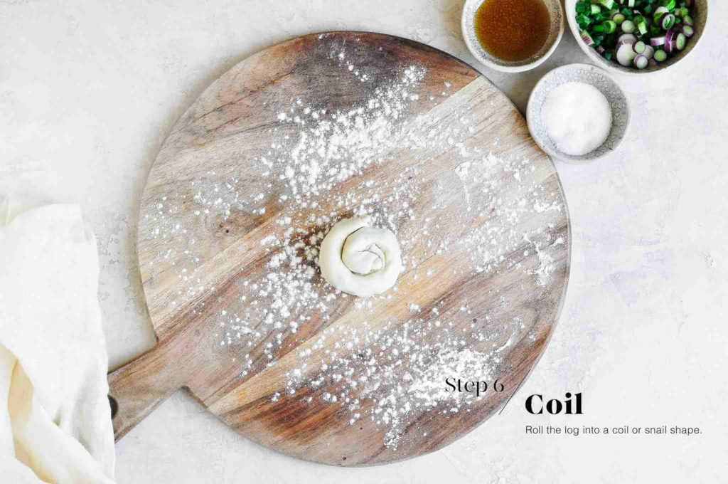 wrapping the scallion pancake dough into a coil
